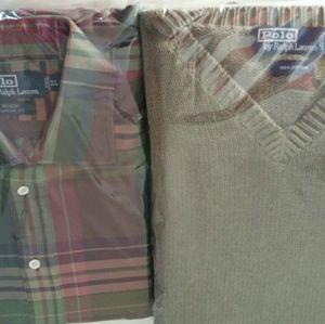 Ralph Lauren sweater Ralph Lauren plaid shirt XL